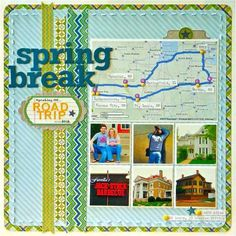 Spring break road trip. :: The map with route highlighted would be great for a title page. ::