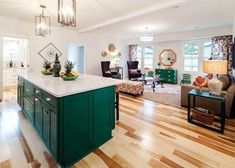 """Kortney Wilson Transforms a Dated Home into a Tropical Paradise - Benjamin Moore """"green bay"""" walls in """"white wisp"""" and trim in """"moonshine"""" - Green Kitchen Island, Green Kitchen Walls, Green Kitchen Cabinets, Kitchen Cabinet Colors, Kitchen Colors, New Kitchen, Kitchen Design, Kitchen Decor, Green Walls"""