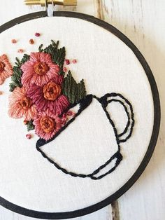 Coffee Lover Gift Coffee Signs For Kitchen Embroidery Hoop Art Hand Embroidery Coffee artwork Floral embroidery Rustic wall art embroidery - Embroidery designs - Crewel Embroidery Kits, Learn Embroidery, Hand Embroidery Patterns, Vintage Embroidery, Ribbon Embroidery, Cross Stitch Embroidery, Embroidery Store, Flower Embroidery Designs, Simple Embroidery