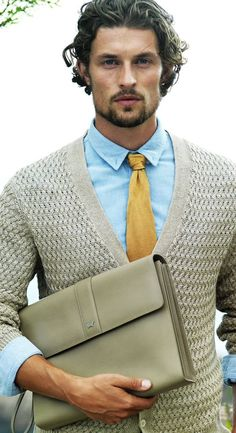Light Blue Shirt, Yellow Necktie, Textured Cardigan   Men's Fashion & Style   Menswear   Spring/Summer Men's Outfit   Business Casual   Moda Masculina   Shop at designerclothingfans.com