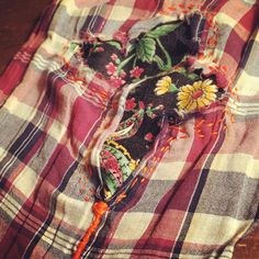 Brian's first mend. Make Do And Mend, How To Make, Visible Mending, Fiber Art, Plaid Scarf, Homemade, Sewing, Beautiful, Fashion