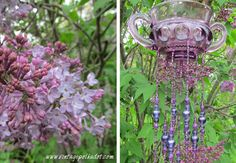 Vintage Purple Stained Glass Wind Chimes by VintagePolkaDotcom