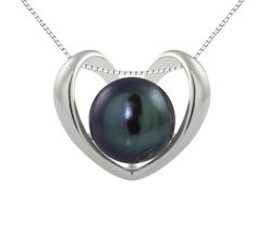 """Sterling Silver Heart Pendant with Freshwater Cultured Peacock Black Button Pearl (9.5-10mm), 18"""" (Jewelry) $59"""