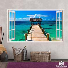 Pegatinas para ventanas originales en Teleadhesivo Bahamas, Tapestry, Windows, Art 3d, Frame, Poster, Google, Home Decor, Swiming Pool