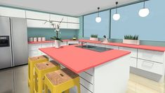 Modern Open Eat In Kitchen With Colorful Countertops