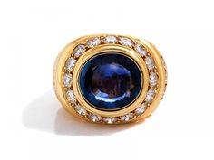 """Saphir-Brillantring von René Boivin Ringweite: 53. Gewicht: ca. 20,1 g. GG 750. Signiert """"René Boi — Schmuck_Juwelen"""