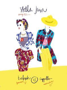 """Stella Jean Spring 2013. T-shirt, stampe fantasia e tanto colore, gli stessi raffinati """"geni"""" per comporre due """"generi"""" molto diversi.  Il tocco finale in capo: turbante o cappello. Dimmi cosa porti e ti dirò chi sei!  #fashion #illustration Open Toe - Opentoeillustration.com"""