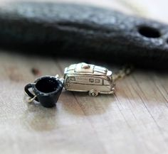 Camping Pendant  Silver Camper and Tiny by MySelvagedLife on Etsy