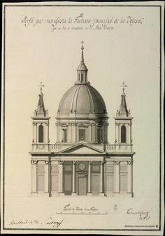 [Alzado principal de la iglesia parroquial de San Fernando en el Monte Torrero de Zaragoza]. Caso, Tiburcio del n. 1769 — Dibujo — 1796