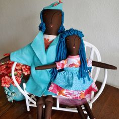 """Just listed: handmade black dolls """"Naomi"""" and """"Chantal"""" add sunny personality to my shop."""