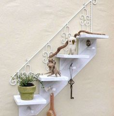 Decorative wall mounted floating shelf in 2019 Wall Shelf Decor, Wall Shelves, Floating Shelves Bathroom, Diy Kitchen Storage, Painting Cabinets, Home Accessories, Diy Home Decor, Interior Decorating, Sweet Home