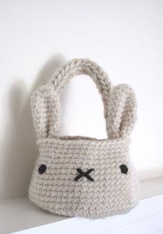 bunny basket bag  crochet pattern  PDF par cherylcambras sur Etsy, $5,00