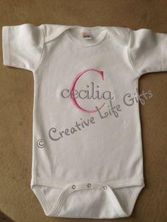 Custom Monogrammed Baby Bodysuit or TShirt  by CreativeLifeGifts, $20.00