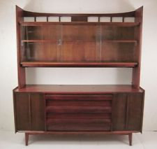 Vtg Mid Century Modern Lane Credenza Wall Unit Buffet China Cabinet Chest Shelf