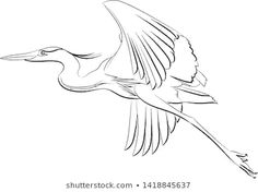 Flying Great Blue Heron Line Drawing Stock Vector (Royalty Free) 1418845637 Fly Drawing, Line Drawing, Drawing Ideas, Painting & Drawing, Flying Tattoo, White Egret, Watercolor Ideas, Blue Heron, Wood Burning