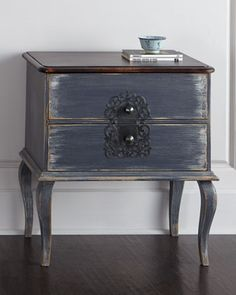"""Nightstand made of Chilean pine and Peruvian oak. Hand-painted, distressed finish with rub-through to light brown on edges and white on drawers. Two drawers. 28""""W x 18""""D x 30""""T; drawers, 20.5""""W x 6""""T."""