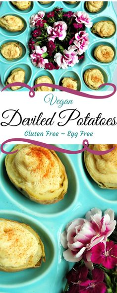 These vegan and gluten free deviled potatoes are the perfect substitute for deviled eggs. If you are craving that eggy flavor of deviled eggs, this dish has a surprisingly similar flavor. thehiddenveggies.com