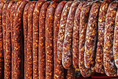 Various types of romanian sausages carnati , smoked and dried, exposed for sale Shall specify for the month of December Hungarian Sausage Recipe, Hungarian Recipes, Halloumi Burger, Cookbook Recipes, Cooking Recipes, Chorizo, Romania Food, Homemade Sausage Recipes, Good Food