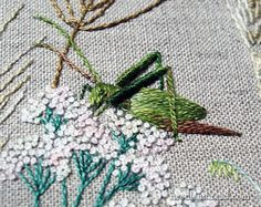 Embroidered Grasshopper ... via the fabulous Mary Corbet