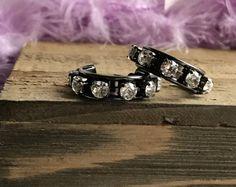 Swarovski Crystal Elements Hoop Earrings set in Hematite Setting