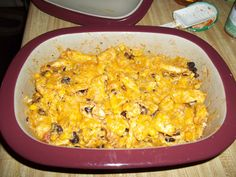 """CHICKEN TORTILLA CASSEROLE 8 oz frozen corn, 1½ lb chicken breasts, cut into 1"""" strips, 2 tbsp taco seasoning, 1 can black beans, drained & rinsed, 1½ cups salsa, 4 cups broken tortilla chips, 1 cup shredded cheese Add corn & chicken strips to DCB, combine w/seasoning. Microwave on high 4 minutes; stir. Cover; cook 4‐6 minutes. Stir beans & salsa into chicken mixture. Gently stir in tortilla chips. Top w/ grated cheese. Cook, uncovered, on high 2‐3 minutes or until cheese is melted."""
