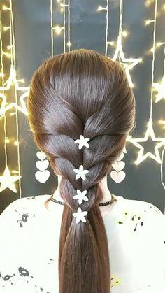 Simple tutorial bridal hair inspiration Bun Hairstyles For Long Hair, Braids For Long Hair, Little Girl Hairstyles, Braided Hairstyles, Beautiful Hairstyles, School Hairstyles, Office Hairstyles, Anime Hairstyles, Stylish Hairstyles
