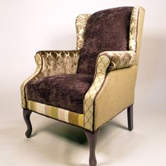 I have a chair just like this that needs re-upholstering.  This is cool, and a good way to use up odds and ends.