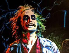 juicE2 - original paint marker painting - actor Michael Keaton from Beetlejuice