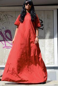 Summer Kaftan Dress, Red Long Gown, Maternity #summerdress #kaftan #redgown #longgown #maternitygown #comfyrobe #fulllengthdress #infinitydress #eveninggown #plussizedress #maxidress #drapedress #highfashiondress