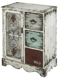 Add a vintage touch to your home with the Parcel Distressed White Chest. It has an antique, weathered look that adds character and a unique look to your home.
