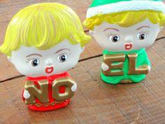 Vintage Holiday Decor, Ceramic Boy and Girl NOEL, Christmas