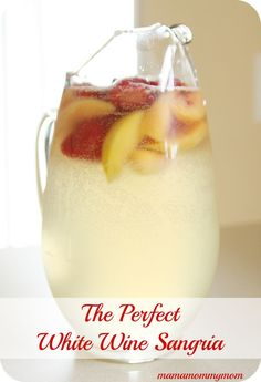White Wine Sangria Recipe - White grape juice, white wine (Chardonnay), sprite, peach schnapps, frozen fruit. No lime juice.