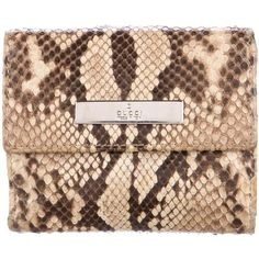 Pre-owned Gucci Python Compact Wallet (560 PEN) ❤ liked on Polyvore featuring bags, wallets, animal print, python wallet, snap bag, python bag, preowned bags and gucci wallet