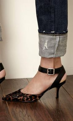 Pointed toe d'orsay mid heel in genuine suede with adjustable ankle strap and buckle detail. by leanna