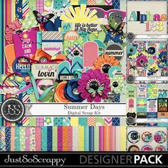 Summer Days Digital Scrapbooking Kit, Beach, Vacation, Kids, Holiday, Seasonal,Collection, Bundle, Page Borders, Journal Cards, Project Life, Cluster Seals, Elements, Embellishments, Alphabets, Monograms, Papers, Patterns, Glitter