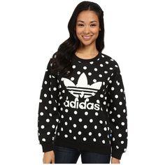 adidas Originals Dots AOP Trefoil Sweatshirt Women's Sweatshirt ($55) ❤ liked on Polyvore featuring tops, hoodies, sweatshirts, cotton pullovers, sweater pullover, long sleeve sweatshirt, sweat shirts and sweatshirts hoodies