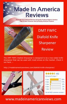 The DMT FWFC Diafold Sharpener is designed to be a two-sided knife sharpener that can be used with most knives on the market. Check it out here . American Manufacturing, Knife Sharpening, Made In America, Being Used, Home Crafts, Knives, Marketing, Usa, Check