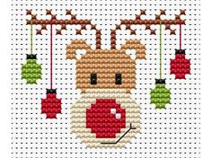 Sew Simple Rudolf Cross Stitch Kit £8.95 | Past Impressions | Fat Cat Cross Stitch