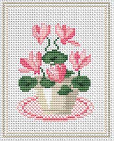 grafico punto de cruz gratis en pdf para bordar flores ciclamen