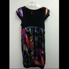 Multi-Color Baby Doll Top / Dress Two in one Outfit! Stylish Top & Dress In One!! Multi Color Silk and Cotton Top / Dress! Comfortable Fit!! Looks Very Cute With Leggings or Jeans! Tops