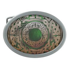 Stone Celtic Knot Circle on Green Belt Buckle