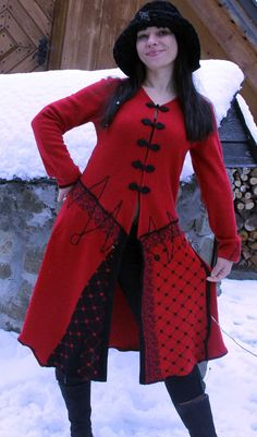 M  L Red folk swetaer coat by jamfashion on Etsy, $96.00