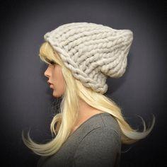 Knit beanie hat Chunky knit beanie Helsinki hat giant by KnitLea