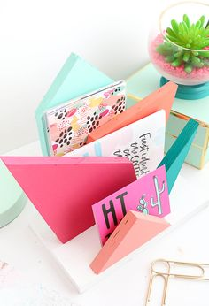DIY Colorful Geometric Desk Organizer | Add some color to your desk with this geometric mail and document rack. Lovely Indeed.