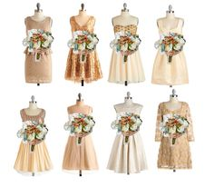 We love these mismatched gold bridesmaids' dresses.