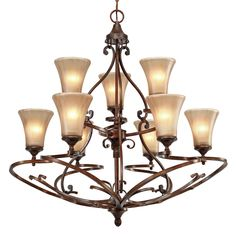 Dining Golden Lighting 4002-9 RSB 9 Light Loretto Chandelier, Russet Bronze at ATG Stores