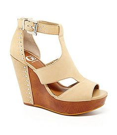"They are a little high, but I simply ""must"" have these shoes!! GB CitySleek Side Cutout Wedge Sandals #Dillards"