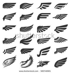 Wing icons vector set