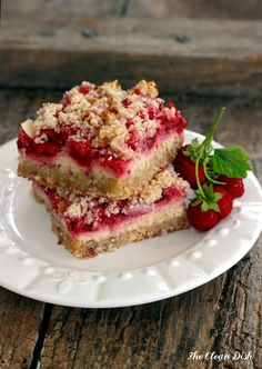 Strawberry Sour Cream Crumb Bars {grain free and gluten free, refined sugar free} | The Clean Dish / Changing it to cherry! :D