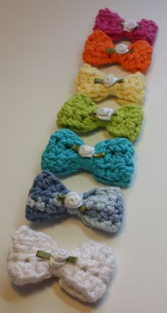 Little girls crocheted hair bows in rainbow by inkinupstamps, $15.25